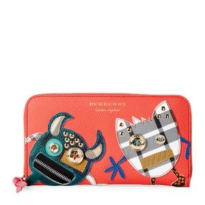BURBERRY Creatures Appliquéd Leather Zip Wallet